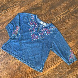 Vintage Embroidered Boho Denim Blouse
